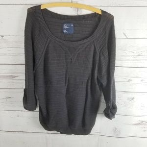 American Eagle Ribbed Sweater Gray Womans Med